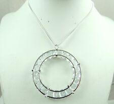 Promotion Fashion Retro silver  Crystal Diamond Circular Necklace Pendant  c3