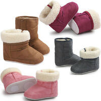 Newborn Baby Boy Girl Soft Sole Snow Boots Anti-slip Fur Crib Shoes Prewalker AB