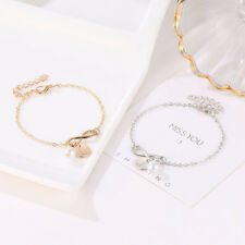 Women Creative Initial Knot Pearl Charm Bracelet Adjust Chain Bangle Jewellery
