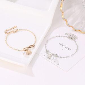Women Creative Initial Knot Pearl Charm Bracelet Adjust Chain Bangle Jewellery
