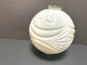 White milk glass moon stars lightning rod ball chipped edges vintage