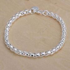 Womens 925 Sterling Silver Box Link Chain Bangle Cuff Fashion Bracelet #B17