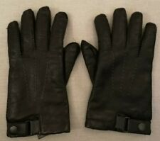 TED BAKER Black 100% Leather 100% Wool Lined Button Fastening Glove Size M
