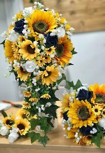 Artificial Wedding Bouquet, Bride, Bridal , Teardrop, Sunflower, Navy Blue Rose