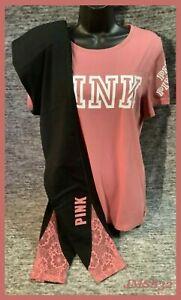 Victoria's Secret Pink Tee Shirt + Leggings Set Soft Begonia Floral Black L NWT