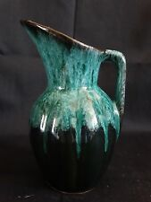 "Canuck Pottery ~ Evangeline Blue Green Flow Melon Pitcher Creamer 5 1/2"" ~ #908"