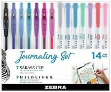 Zebra Mildliner & Sarasa Retractable Gel Pen Journaling Set, Assorted 14Pk 122