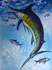 Watercolor Painting Blue Ocean Fish Marlin Fishing Bait 5x7 Art