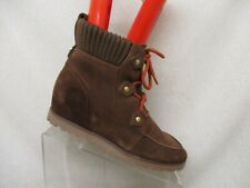 TOMMY HILFIGER Brown Suede Lace Up Hidden Wedge Ankle Fashion Boots Size 8.5 M