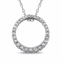 """Sterling Silver 1/3 Ct Diamond TDW Circle Pendant Necklace With Chain I3 18"""" 925"""