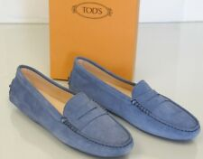 410170e76c3 Tod s Flats Mocassins Penny Driving Moccasins Shoes Navy Blue Suede 40