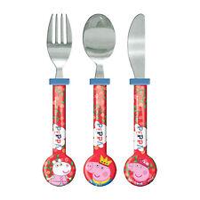 Producto oficial Peppa Pig 3PC Juego De Cubiertos Cuchillo Cuchara Tenedor Regalo Diversión Nuevo Diseño