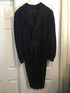 Vintage Stein Bloch Men's Dark Navy Tuxedo Jacket with Tails-can ship flat rate