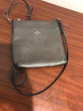 Coach Metallic Crossgrain Courier Crossbody Bag Silver Hardware