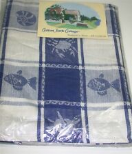 "Cotton Park Cottage Tablecloth ~ Clam Bake Blue White ~ 52"" x 52"" Square *NEW*"