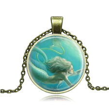 Vintage Cartoon Mermaid Cabochon Photo Bronze Glass Chain Pendant Necklace YG310