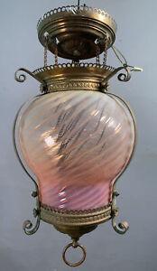 LG Antique ART NOUVEAU Era ART GLASS SWIRL Old BOHEMIAN Hanging Lamp CHANDELIER