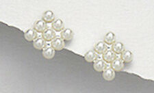 Solid Sterling Silver Classic Seed Pearl Cluster Classic Pushback Studs 10mm