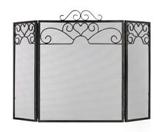 Vintage Style Brushed Steel Ornate Heart Mesh Fire Guard Screen Surround NEW