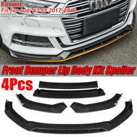 For Audi A3 S3 2017-2019 Carbon Fiber Look Front Bumper Lip Spoiler Cover Trim