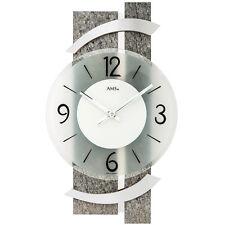 NEU Designer Wanduhr AMS Naturstein-Optik Aluminium silber Uhr 40 cm Clock