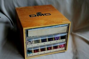 DMC WOOD CABINET W/ 393 EMBROIDERY NEW THREAD SKEINS
