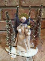 Vtg Japan Christmas Mary Jesus Felt Flocked Bottle Brush Trees Nativity Scene