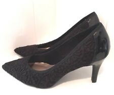 M&S Black Crochet Cushion Patent Court Shoe Pointed Heels Goth Witch Sz 5 /38