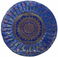 "Blue 16"" Round Cushion Pillow Cover Mandala Silk Brocade Indian Throw Decorative"