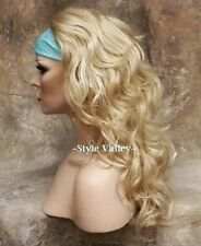 Blonde Mix 3/4 Fall Hairpiece Half Wig Long Curly/ Wavy Hair Piece Layered
