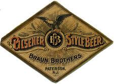 BRAUN BROS BREWING BEER LABEL T SHIRT PATTERSON NJ SMALL-XXXLARGE (F)
