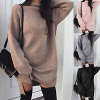 Hot Women Knitted Oversized Sweater Jumper Dress Ladies Winter Long Pullover Top