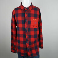 Born Fly Button Up shirt Mens XL Blue Red Long Sleeve Flannel Plaid Casuals