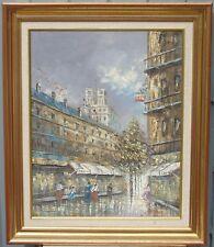 J.Hinton - Scène animée parisienne. Huile sur toile. Xxe s. Signée