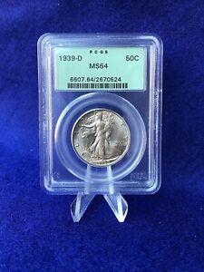 1939-D  WALKING LIBERTY HALF DOLLAR 50c *PCGS MS64 CHOICE BU* OLD GREEN HOLDER