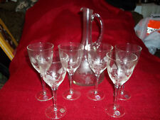 Etched Crystal Romania Decanter with 6 Wine Glasses Goblets
