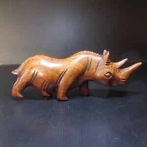 Sculpture statue rhinocéros bois vintage art déco ethnique 1942 Afrique N7672