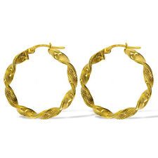375 9CT GOLD ROUND 36MM SATIN RIBBON TWIST HOOP CREOLE  PIERCED EARRINGS
