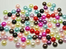 500 Mixed Colour Half Pearl Bead Flat Back 8mm Scrapbook Craft FlatBack