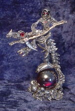 Pewter Reaper on Undead Dragon with Red Crystals - Satin Matte Finish