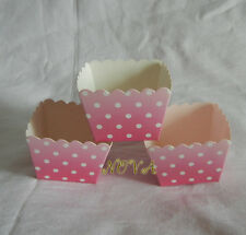 pink  dot square muffin cases baking paper cup cupcake 20pcs party accessory