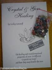 New CRYSTAL AND GEM HEALING Paperback BOOK + Free Bag of gemstones, crystals