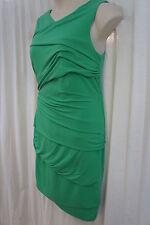 Suzi Chin for Maggy Boutique Petite Dress Sz 12P Spearmint Green Ruche Cocktail