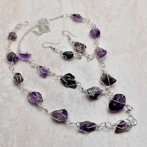 Amethyst Gemstone Ethnic Handmade Jewelry Set 33 Gms VN-659