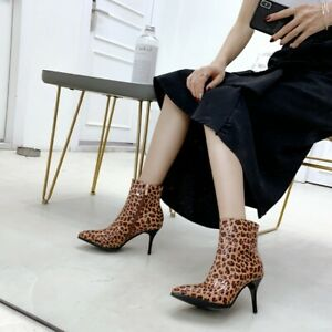 Ladies Sexy Stiletto High Heels Leopard Print Ankle Boots Slim Party Club Shoes