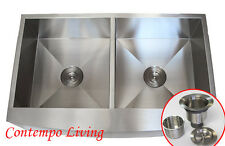 """36"""" STAINLESS STEEL Kitchen Sink Farm Apron CURVE FRONT DOUBLE BOWL"""
