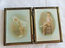 ADORABLE YOUNG GIRLS 1920 HAND COLORED PHOTOS IN BRASS DOUBLE CONVEX GLASS FRAME