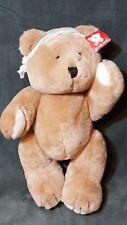 "Vtg 1985 14"" Bearland Jointed Plush Brown Bear Teddy Stuffed Animal w/ Head Band"
