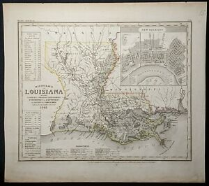 24x32 1860/'s Map of Lousiana /& Eastern Texas Vintage Map