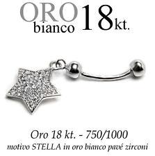Piercing ombelico belly ORO BIANCO 18kt.pendente STELLA zirconi taglio BRILLANTE